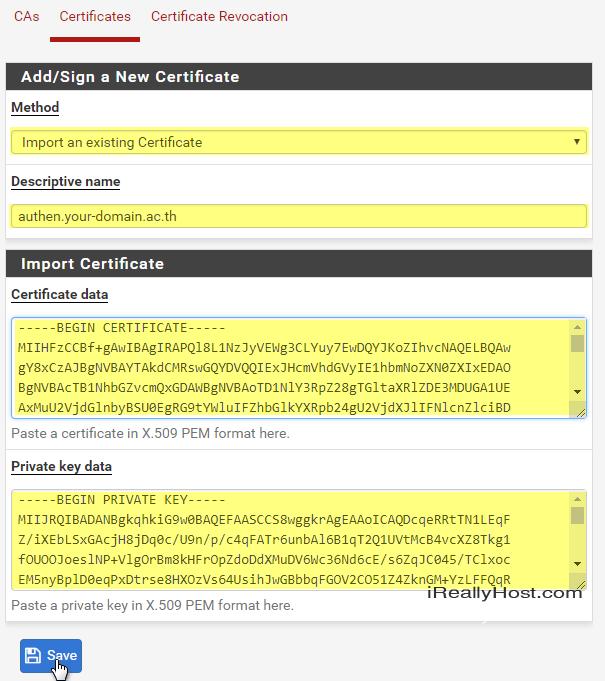 วิธีติดตั้ง SSL Certificate ให้กับ pfSense Software